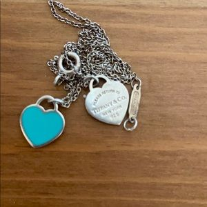 TIFFANY & CO. Silver necklace with turquoise heart